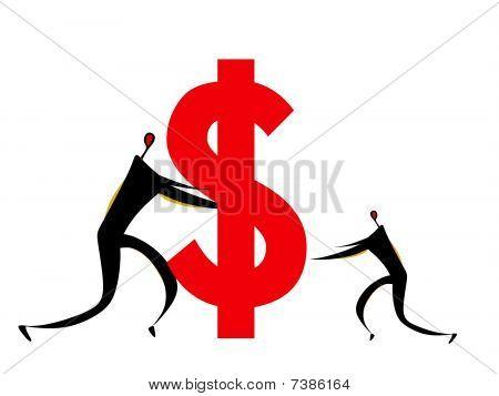 Dos seres humanos empujando el signo de dólar