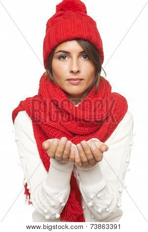 Winter woman holding blank copy space