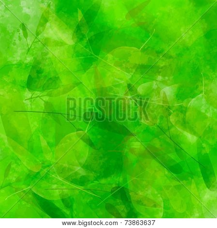 Green background with different leaves pattern