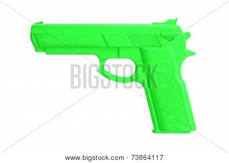 Green Training Gun Isolated On White