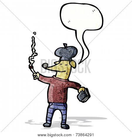 cartoon cool french dog smoking cigarette