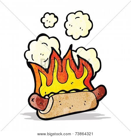 cartoon flaming hotdog