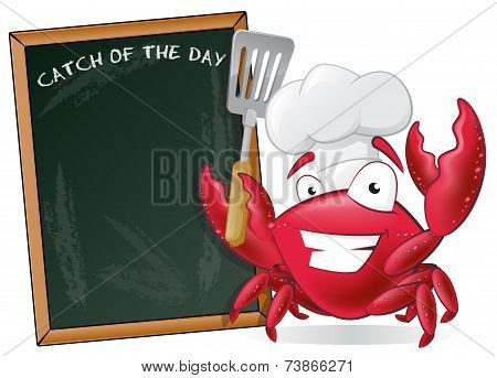 Cute Chef Crab With Spatula And Menu Board.