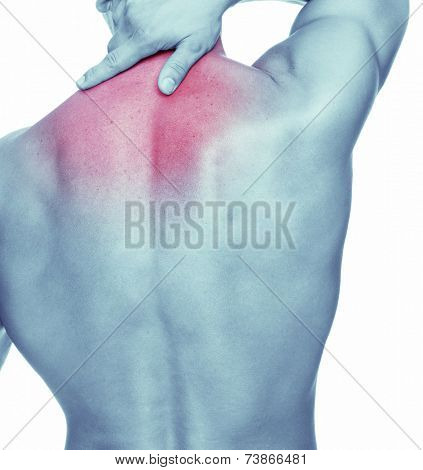 Man with back pain, isolated on white background