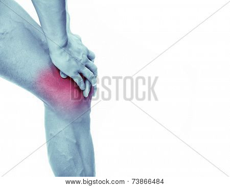 Man with knee in pain, isolated on white background