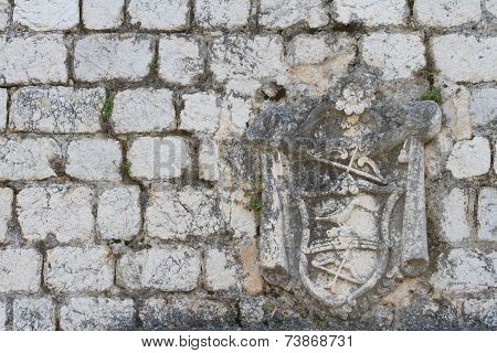 Old Stone Wall Houses With Coats Of Arms