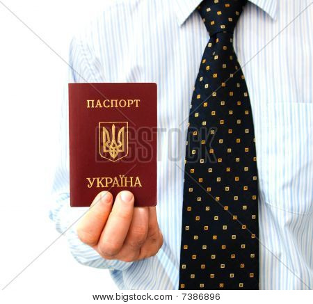 The Passport For Travel Abroad Of The Ukrainian Citizen  In A Man's Hand