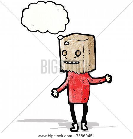 cartoon man with bag on head