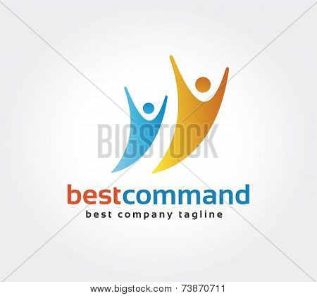 Abstract human vector logo icon concept. Logotype template for branding and corporate design
