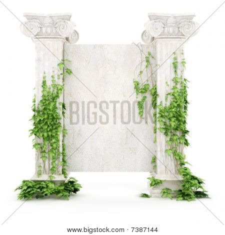Vertical Antiquity Billboard Covered With Ivy