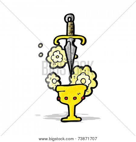 cartoon cup and dagger symbol