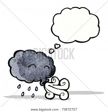 cartoon storm cloud blowing wind