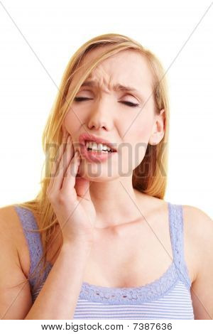 Blonde Woman With Toothache