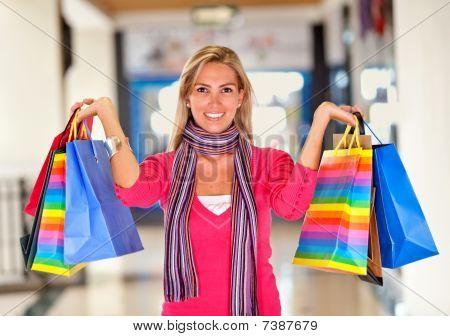 Beautiful Shopping Woman Smiling