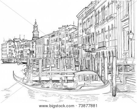 Venice - view of the Grand Canal near the Rialto Bridge. Vector drawing