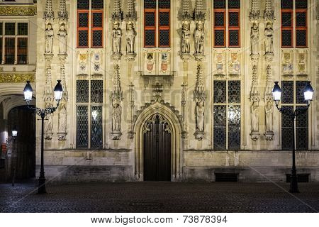 House details on Burg square in Bruges, Belgium