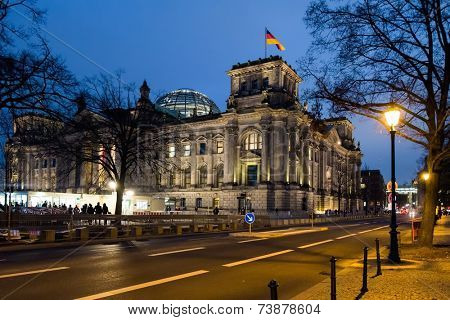 Reichstag building in Berlin during night, Germany
