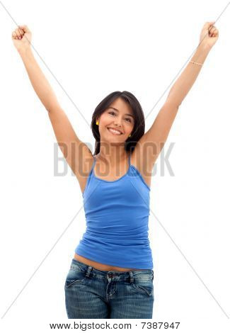Excited Woman Smiling