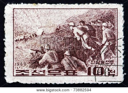 Postage Stamp North Korea 1966 Battle Of Jiansanfen