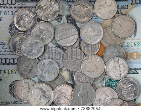 US coins and dollars