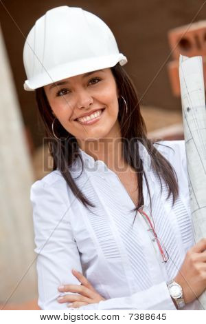 Female Architect At A Construction Site