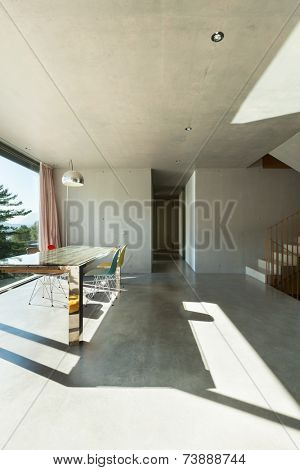 Interior modern house, dining room, concrete wall