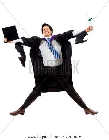 Male Graduate Jumping