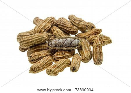 Boiled Peanuts On A White Background