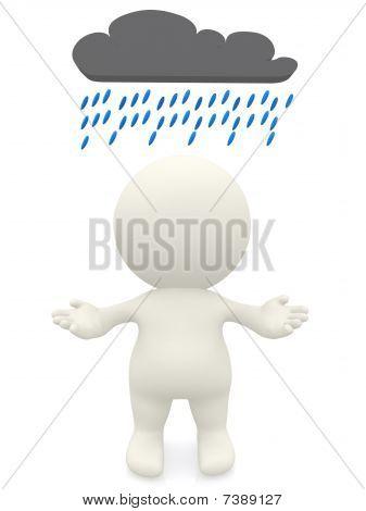 3D Person Under A Rainy Cloud