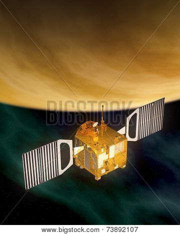 Spacecraft Orbiting Yellow Planet