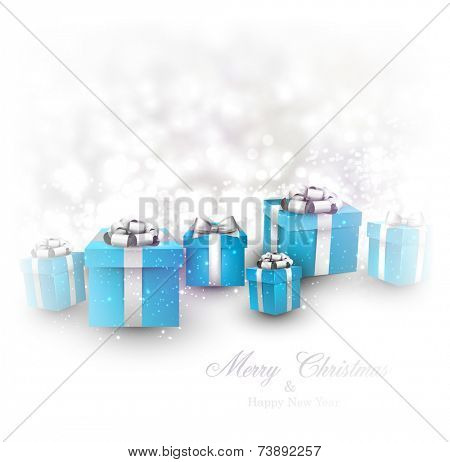 Winter background. Fallen defocused snowflakes. Christmas blue gifts. Vector illustration.