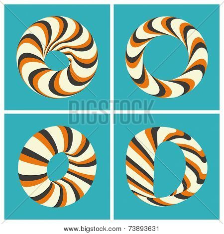 Set of abstract 3d vector icons such emblems. 3d bracelets/rings. Abstract geometric shape. Optical Art.