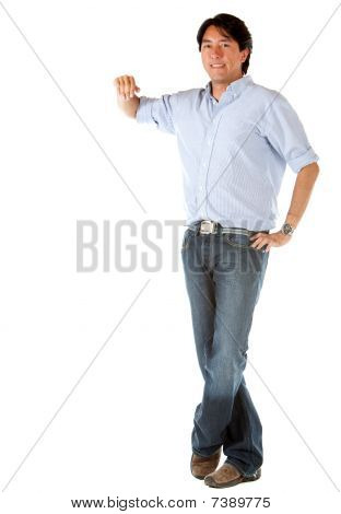Man Leaning On An Imaginary Object