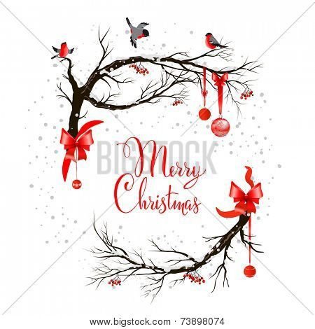 Holiday background with birds on tree and christmas decoration.