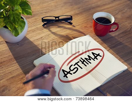 Hand with a Note and a Single Word Asthma