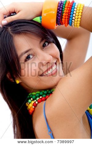 Woman With Colorful Jewelry