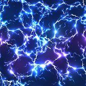 foto of lightning  - Abstract blue electric lightning vector seamless pattern - JPG
