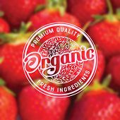 foto of food label  - Label for organic healthy food on background with blurred effect - JPG