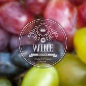 pic of wine grapes  - Label for grape wine on background with blurred effect - JPG
