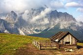 stock photo of chalet  - Morning view from Sexten Dolomites with chalet  - JPG