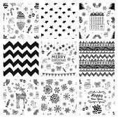 image of christmas bells  - Black and White Xmas and New Year Doodles - JPG