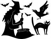 image of halloween characters  - Illustration Featuring the Silhouettes of Different Halloween Characters - JPG