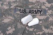 picture of camouflage  - us army camouflaged uniform with blank dog tags - JPG