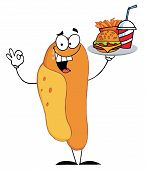 image of hot dogs  - Hot Dog Mascot Cartoon Character Holder Plate Of Hamburger And French Fries - JPG