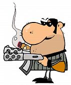 stock photo of mobsters  - Tough Mobster Holding Two Machine Guns And Smoking A Cigar - JPG