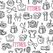 pic of sketche  - Fitness bodybuilding diet sport training healthcare black and white sketch seamless pattern vector illustration - JPG