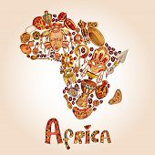 picture of continent  - Africa sketch decorative icons in african continent shape travel concept vector illustration - JPG