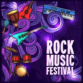 picture of drums  - Rock music festival poster with electric guitar drums keyboard instruments vector illustration - JPG