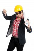 foto of bad mood  - Asian engineer man in bad mood show his thumb down isolated on white background - JPG