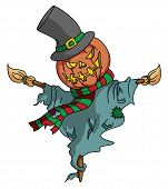 stock photo of scarecrow  - Pumpkin Scarecrow Editable  - JPG